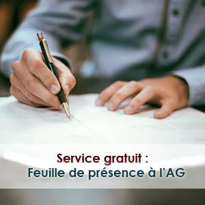 Feuille de présence à l'AG